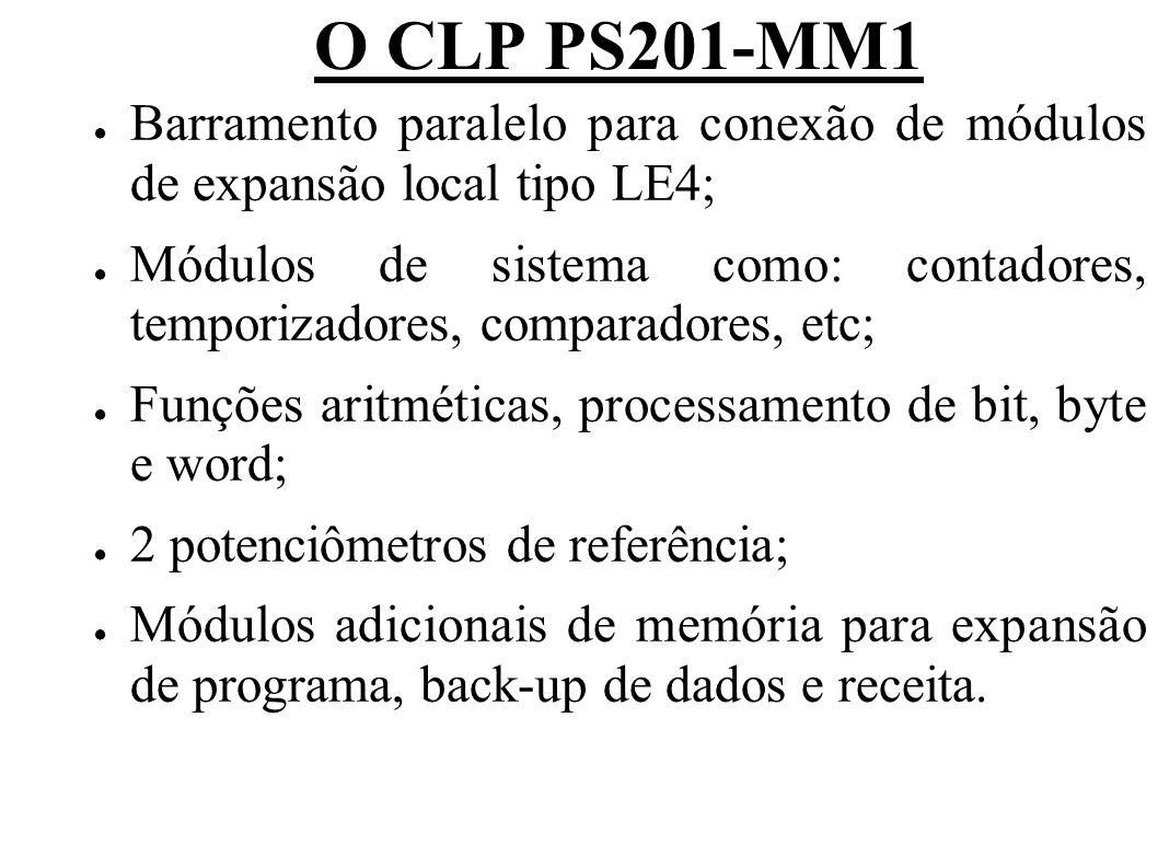 O CLP PS201-MM1 Barramento paralelo para conexão de módulos de expansão local tipo LE4; Módulos de sistema como: contadores, temporizadores, comparado