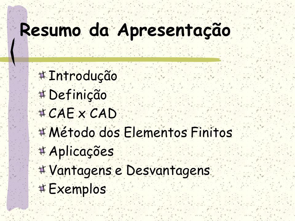 Resumo da Apresentação Introdução Definição CAE x CAD Método dos Elementos Finitos Aplicações Vantagens e Desvantagens Exemplos