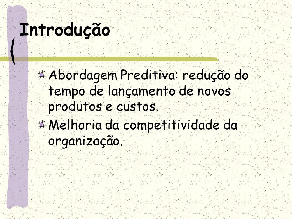 Introdução Abordagem Preditiva: redução do tempo de lançamento de novos produtos e custos. Melhoria da competitividade da organização.