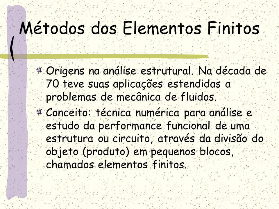 Métodos dos Elementos Finitos Origens na análise estrutural. Na década de 70 teve suas aplicações estendidas a problemas de mecânica de fluidos. Conce