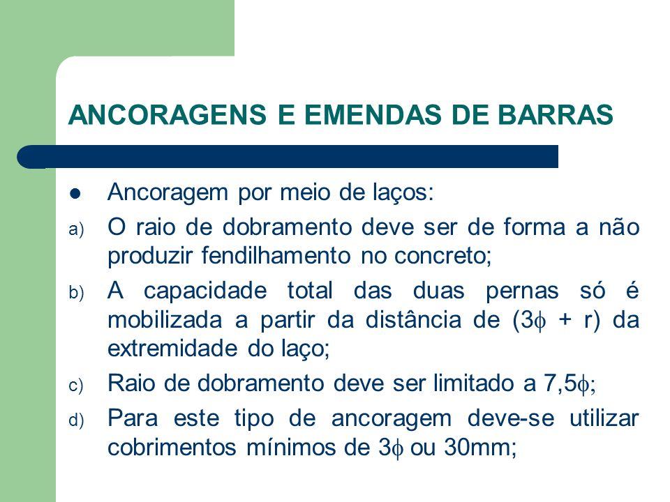 ANCORAGENS E EMENDAS DE BARRAS Ancoragem por meio de laços: a) O raio de dobramento deve ser de forma a não produzir fendilhamento no concreto; b) A c