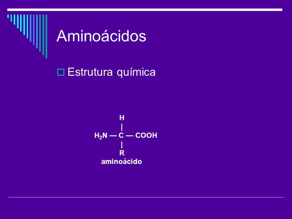 Aminoácidos Estrutura química H | H 2 N C COOH | R aminoácido