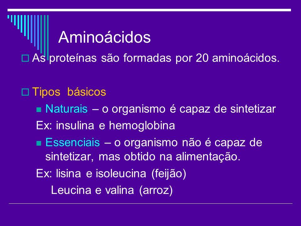 Aminoácidos As proteínas são formadas por 20 aminoácidos. Tipos básicos Naturais – o organismo é capaz de sintetizar Ex: insulina e hemoglobina Essenc