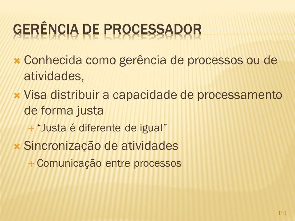Conhecida como gerência de processos ou de atividades, Visa distribuir a capacidade de processamento de forma justa Justa é diferente de igual Sincron