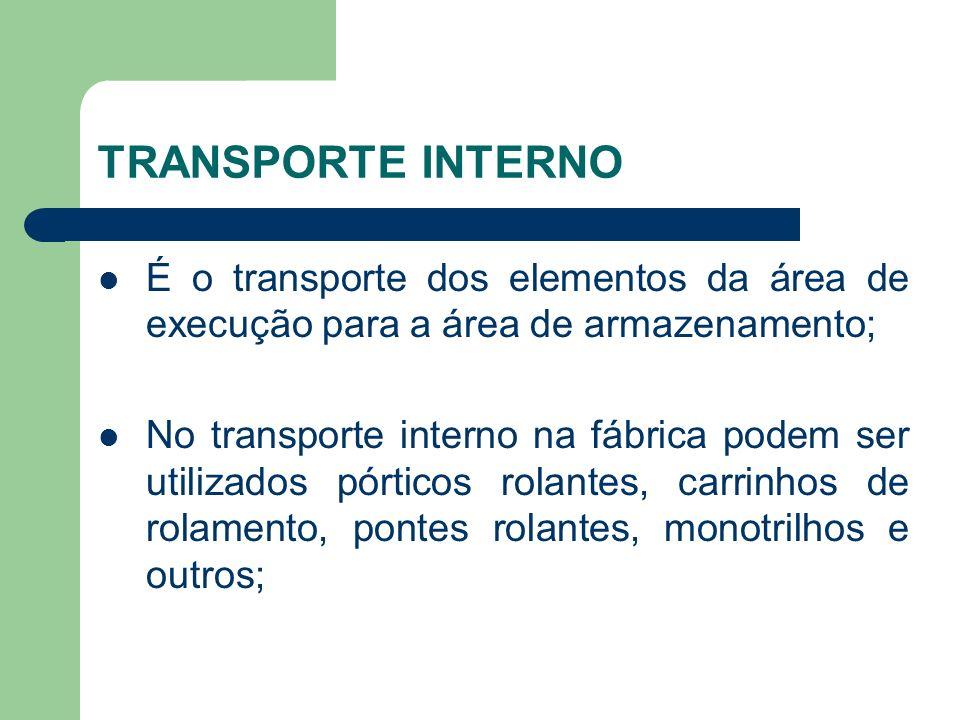 TRANSPORTE INTERNO É o transporte dos elementos da área de execução para a área de armazenamento; No transporte interno na fábrica podem ser utilizados pórticos rolantes, carrinhos de rolamento, pontes rolantes, monotrilhos e outros;