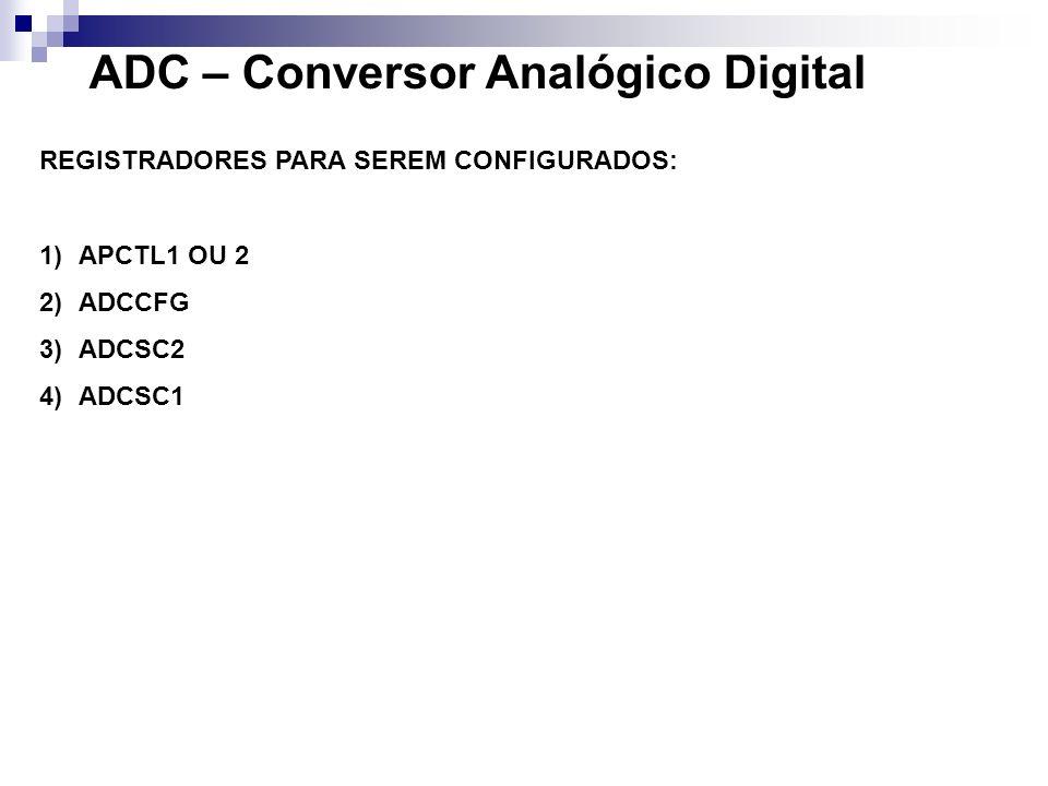 ADC – Conversor Analógico Digital REGISTRADORES PARA SEREM CONFIGURADOS: 1)APCTL1 OU 2 2)ADCCFG 3)ADCSC2 4)ADCSC1