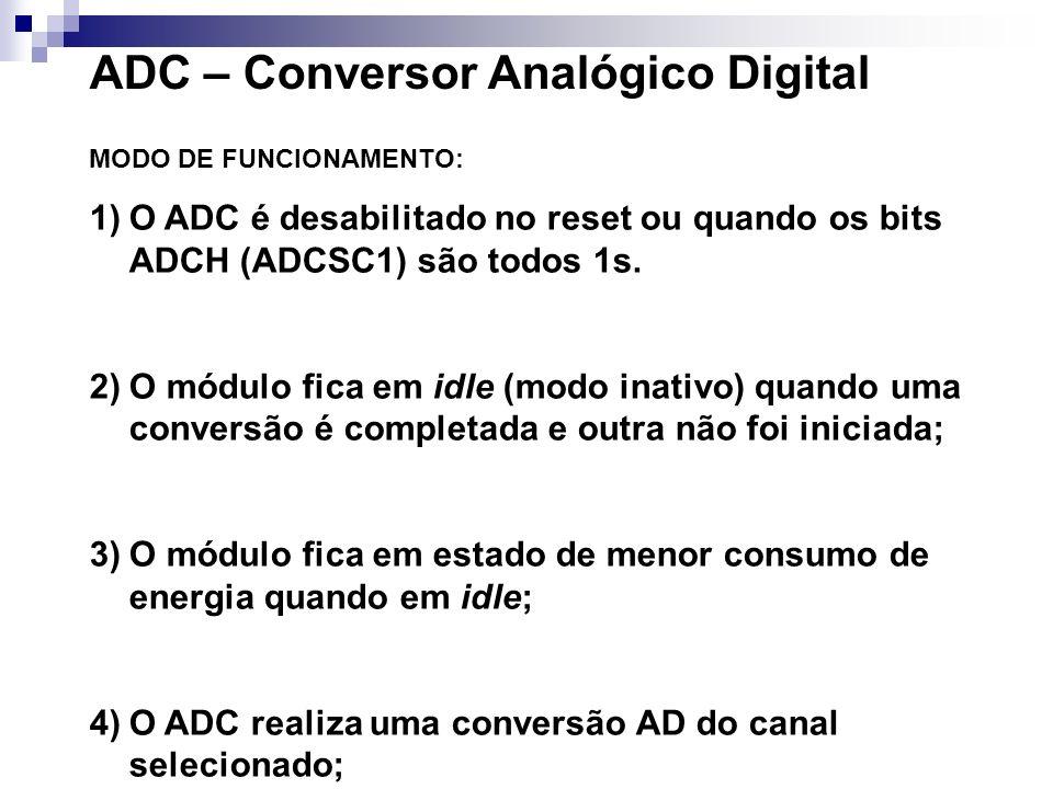 ADC – Conversor Analógico Digital MODO DE FUNCIONAMENTO: 1)O ADC é desabilitado no reset ou quando os bits ADCH (ADCSC1) são todos 1s. 2)O módulo fica