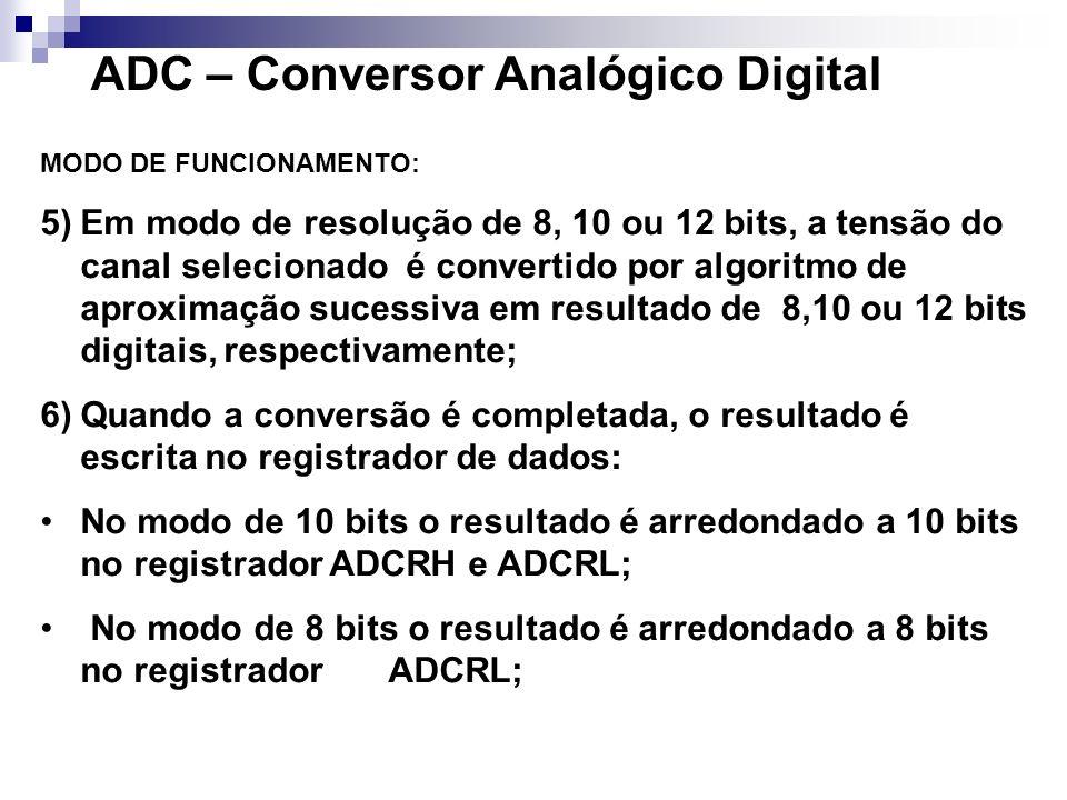 ADC – Conversor Analógico Digital MODO DE FUNCIONAMENTO: 7) Então o flag COCO (COnversão COmpletada) é setado e uma interrupção é gerada se a interrupção de ADC é habilitada (AIEN =1); 8) O Módulo ADC tem capacidade de automaticametne comparar o resultado de uma conversão com o conteúdo do registrador de comparação (ADCV); A função de comparação é habilitado setando o bit ACFE e opera com qualquer modo de conversão e configuração.