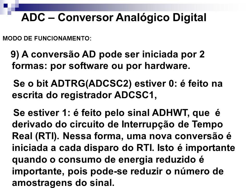 ADC – Conversor Analógico Digital MODO DE FUNCIONAMENTO: 9) A conversão AD pode ser iniciada por 2 formas: por software ou por hardware. Se o bit ADTR