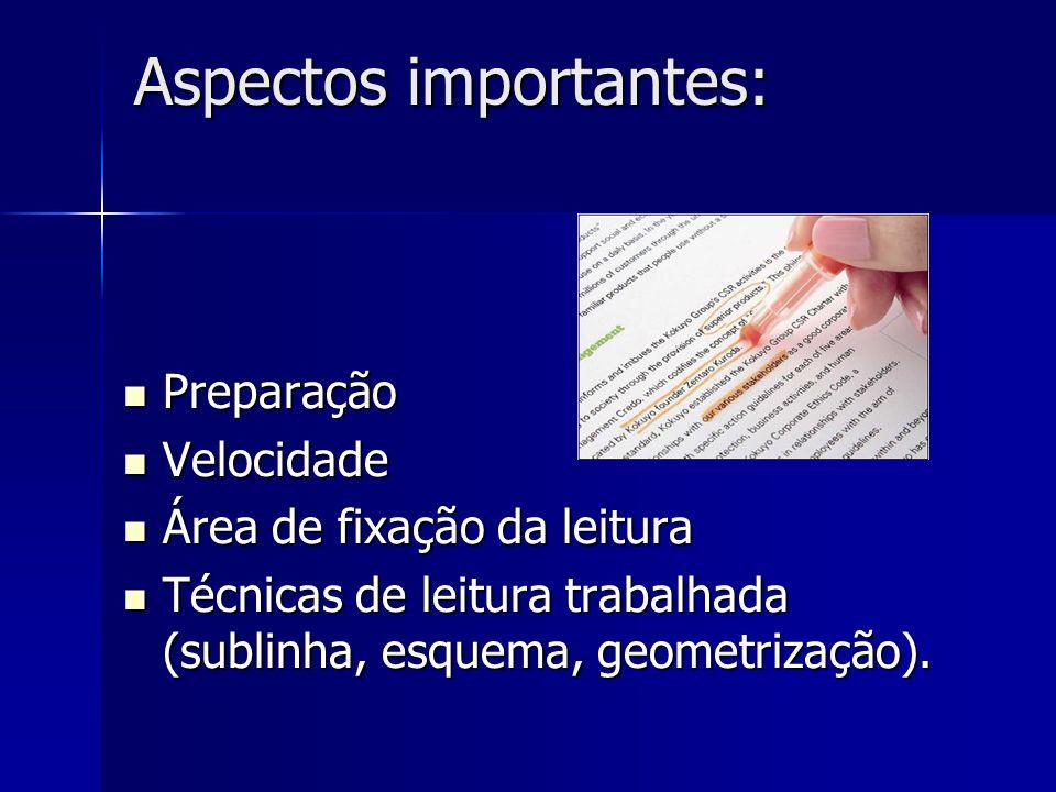 Aspectos importantes: Preparação Preparação Velocidade Velocidade Área de fixação da leitura Área de fixação da leitura Técnicas de leitura trabalhada