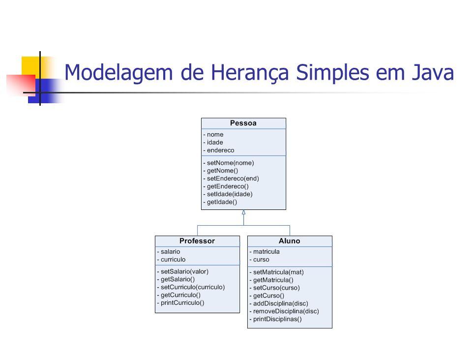Exemplo de Herança Simples em Java declara herança da superclasse Pessoa