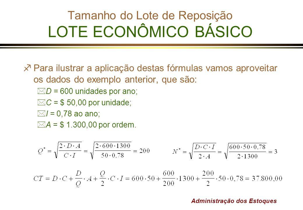 Administração dos Estoques Tamanho do Lote de Reposição LOTE ECONÔMICO BÁSICO fPara ilustrar a aplicação destas fórmulas vamos aproveitar os dados do