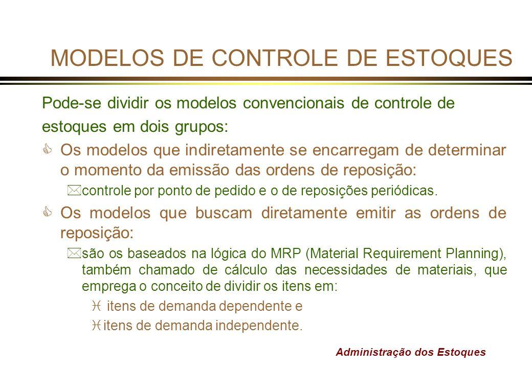 Administração dos Estoques MODELOS DE CONTROLE DE ESTOQUES Pode-se dividir os modelos convencionais de controle de estoques em dois grupos: COs modelo