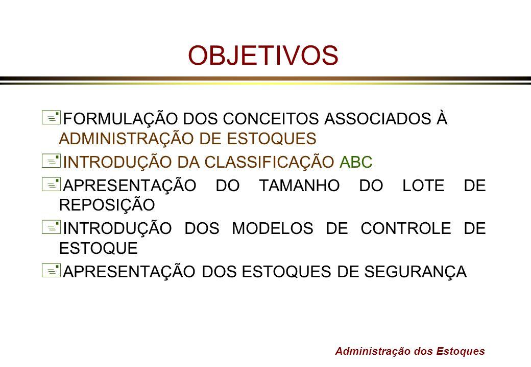 Administração dos Estoques OBJETIVOS + FORMULAÇÃO DOS CONCEITOS ASSOCIADOS À ADMINISTRAÇÃO DE ESTOQUES + INTRODUÇÃO DA CLASSIFICAÇÃO ABC + APRESENTAÇÃ