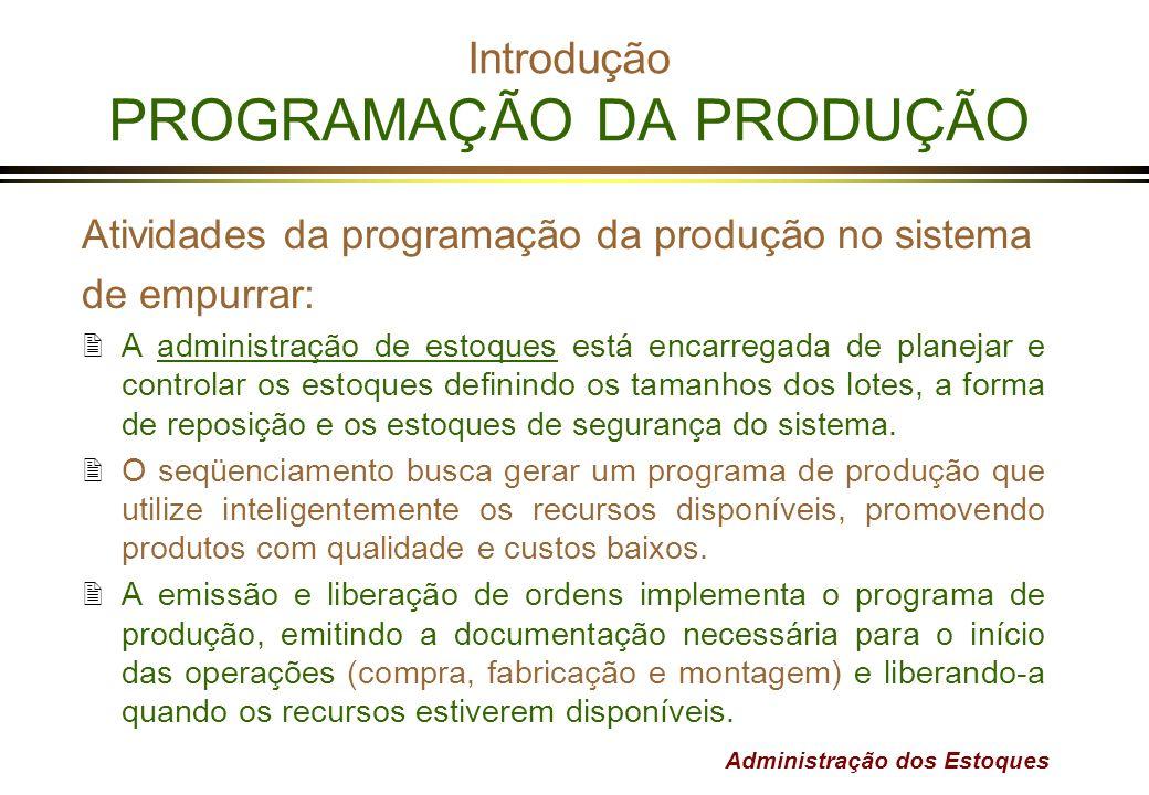 Administração dos Estoques Introdução PROGRAMAÇÃO DA PRODUÇÃO Atividades da programação da produção no sistema de empurrar: 2A administração de estoqu