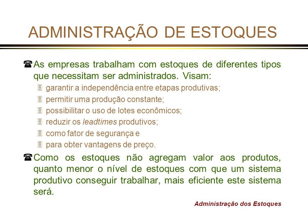 Administração dos Estoques ADMINISTRAÇÃO DE ESTOQUES (As empresas trabalham com estoques de diferentes tipos que necessitam ser administrados. Visam: