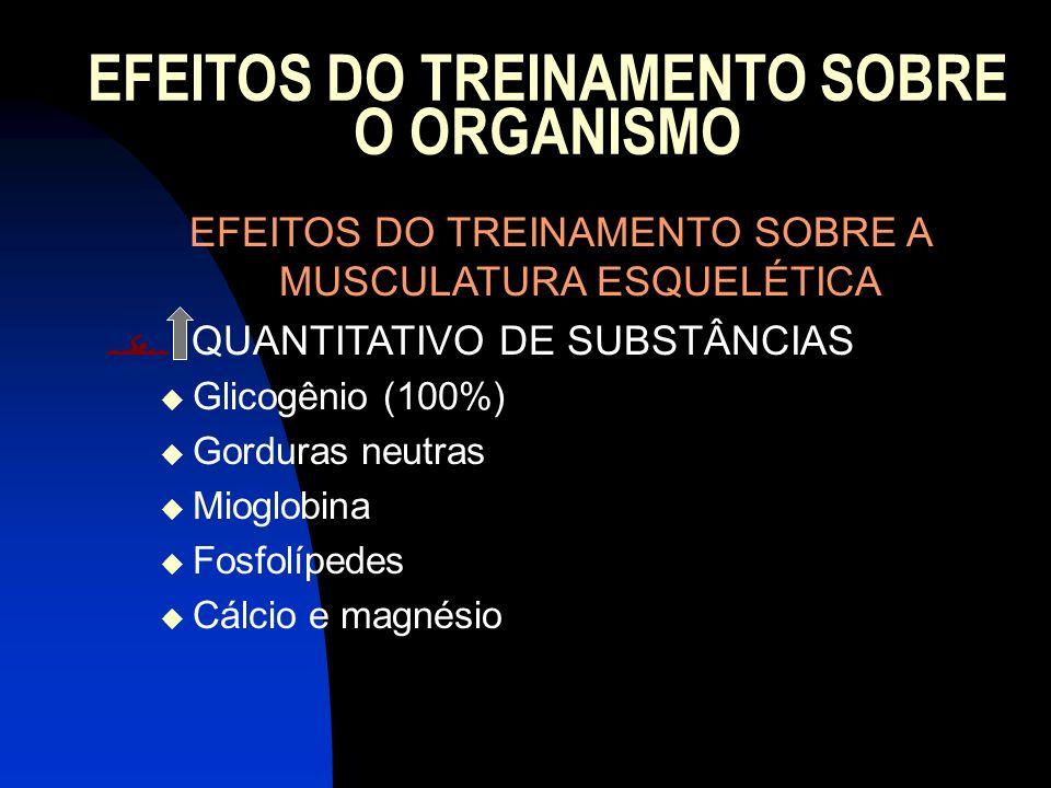 EFEITOS DO TREINAMENTO SOBRE O ORGANISMO EFEITOS DO TREINAMENTO SOBRE A MUSCULATURA ESQUELÉTICA QUANTITATIVO DE SUBSTÂNCIAS Glicogênio (100%) Gorduras