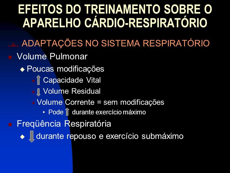 EFEITOS DO TREINAMENTO SOBRE O APARELHO CÁRDIO-RESPIRATÓRIO ADAPTAÇÕES NO SISTEMA RESPIRATÓRIO Volume Pulmonar Poucas modificações Capacidade Vital Vo