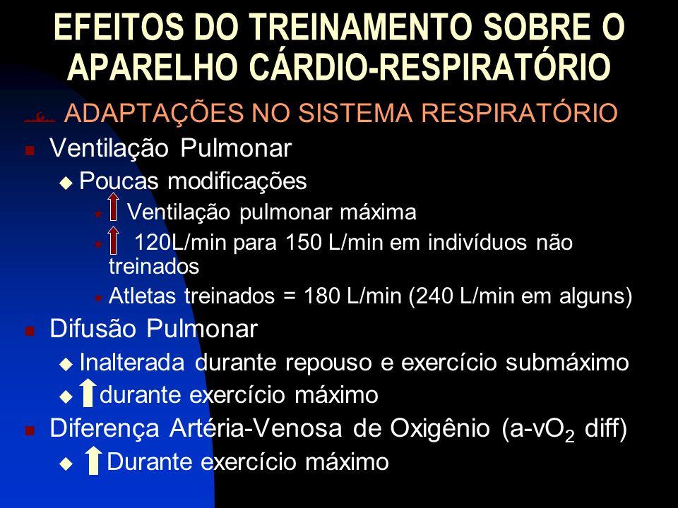 EFEITOS DO TREINAMENTO SOBRE O APARELHO CÁRDIO-RESPIRATÓRIO ADAPTAÇÕES NO SISTEMA RESPIRATÓRIO Ventilação Pulmonar Poucas modificações Ventilação pulm