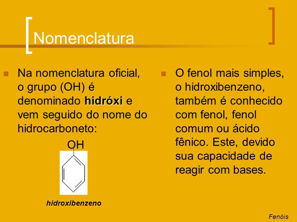 Nomenclatura hidróxi Na nomenclatura oficial, o grupo (OH) é denominado hidróxi e vem seguido do nome do hidrocarboneto: OH O fenol mais simples, o hi