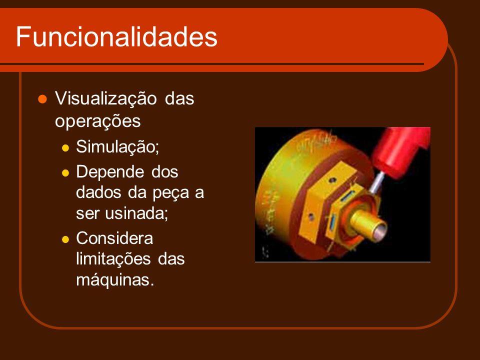 Funcionalidades Visualização das operações Simulação; Depende dos dados da peça a ser usinada; Considera limitações das máquinas.