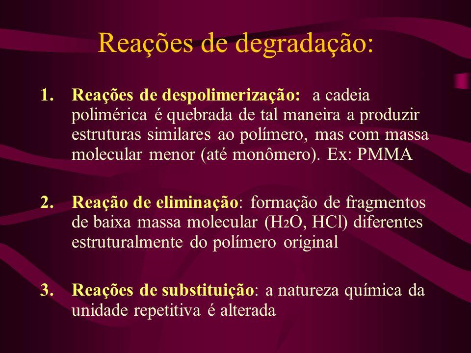 Reações de degradação: 1.Reações de despolimerização: a cadeia polimérica é quebrada de tal maneira a produzir estruturas similares ao polímero, mas c