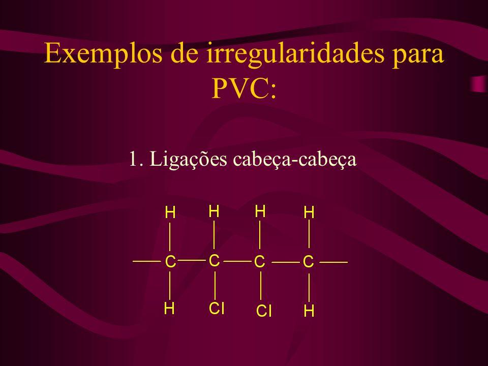 Exemplos de irregularidades para PVC: 1. Ligações cabeça-cabeça