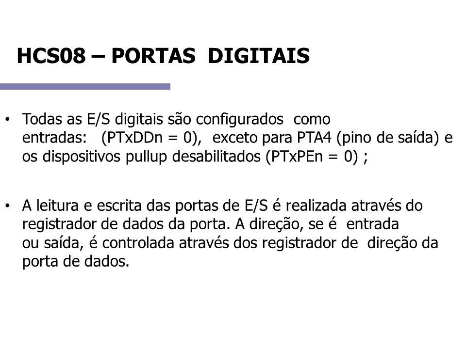 HCS08 – PORTAS DIGITAIS Todas as E/S digitais são configurados como entradas: (PTxDDn = 0), exceto para PTA4 (pino de saída) e os dispositivos pullup