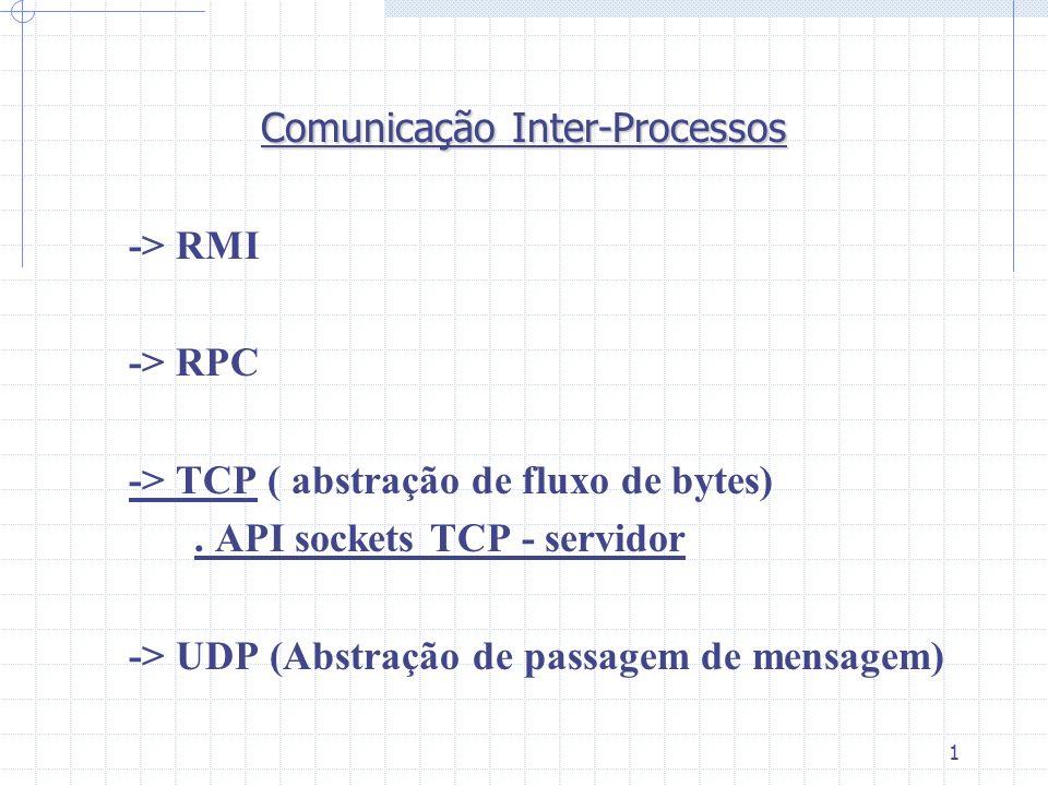 1 Comunicação Inter-Processos -> RMI -> RPC -> TCP ( abstração de fluxo de bytes). API sockets TCP - servidor -> UDP (Abstração de passagem de mensage