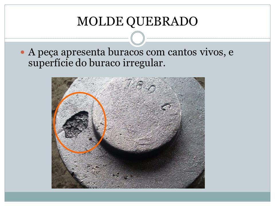 MOLDE QUEBRADO A peça apresenta buracos com cantos vivos, e superfície do buraco irregular.