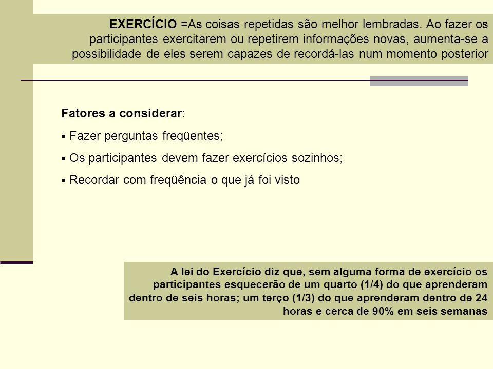EXERCÍCIO =As coisas repetidas são melhor lembradas. Ao fazer os participantes exercitarem ou repetirem informações novas, aumenta-se a possibilidade