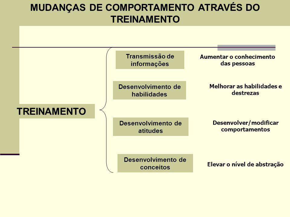 TREINAMENTO Transmissão de informações Desenvolvimento de habilidades Desenvolvimento de atitudes Desenvolvimento de conceitos Aumentar o conhecimento