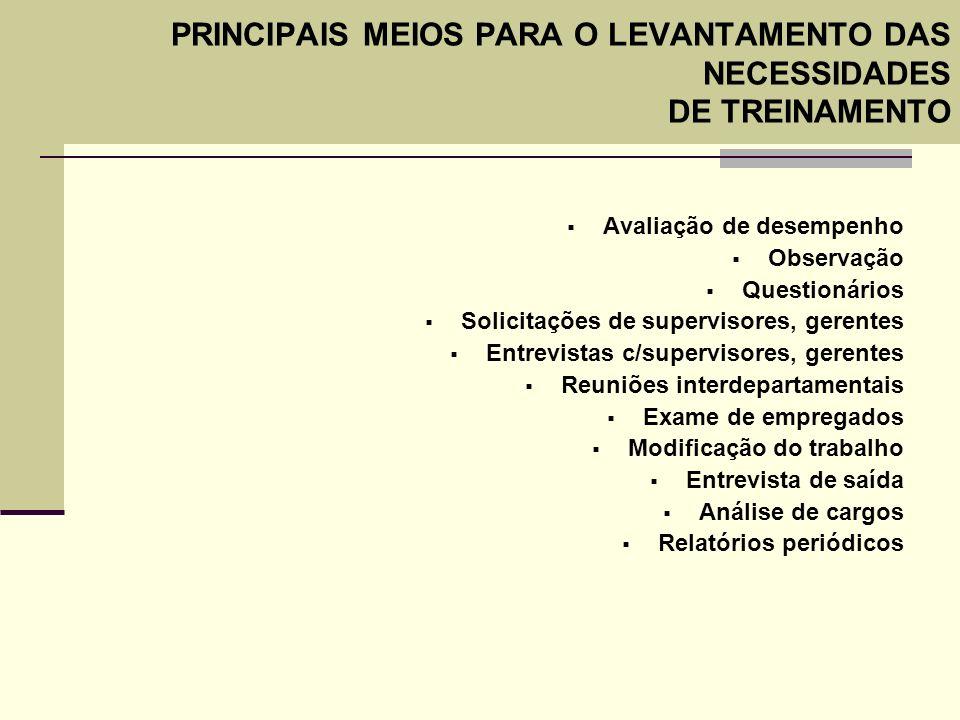 PRINCIPAIS MEIOS PARA O LEVANTAMENTO DAS NECESSIDADES DE TREINAMENTO Avaliação de desempenho Observação Questionários Solicitações de supervisores, ge