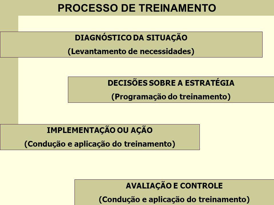 PROCESSO DE TREINAMENTO DIAGNÓSTICO DA SITUAÇÃO (Levantamento de necessidades) DECISÕES SOBRE A ESTRATÉGIA (Programação do treinamento) IMPLEMENTAÇÃO