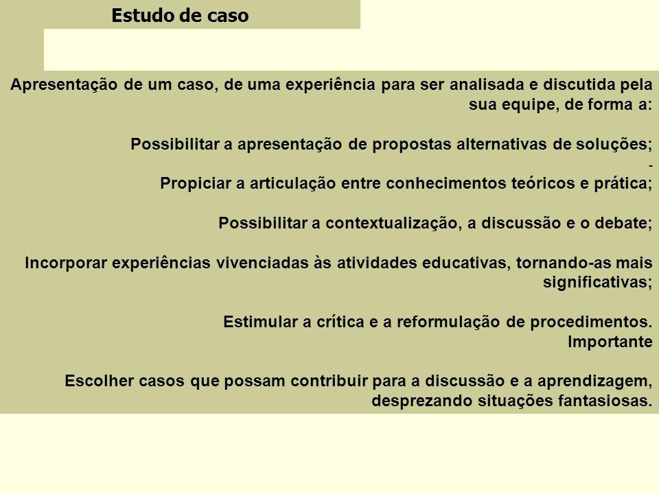 Estudo de caso Apresentação de um caso, de uma experiência para ser analisada e discutida pela sua equipe, de forma a: Possibilitar a apresentação de
