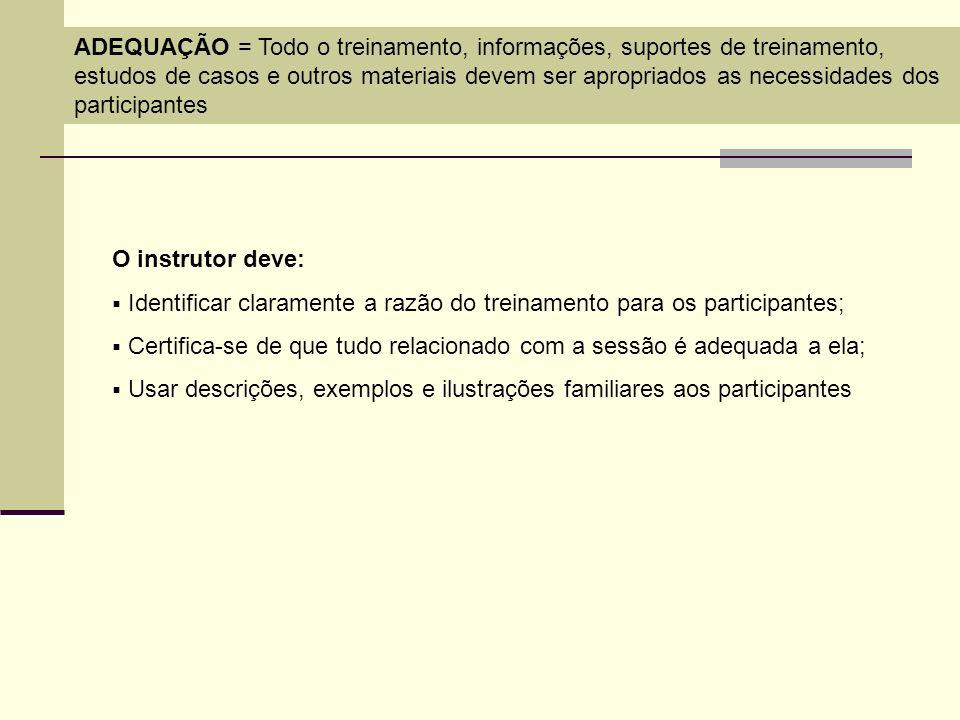 ADEQUAÇÃO = Todo o treinamento, informações, suportes de treinamento, estudos de casos e outros materiais devem ser apropriados as necessidades dos pa