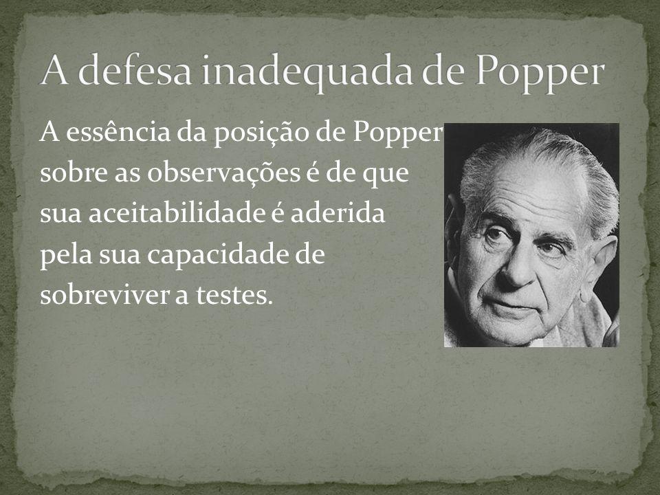 A essência da posição de Popper sobre as observações é de que sua aceitabilidade é aderida pela sua capacidade de sobreviver a testes.