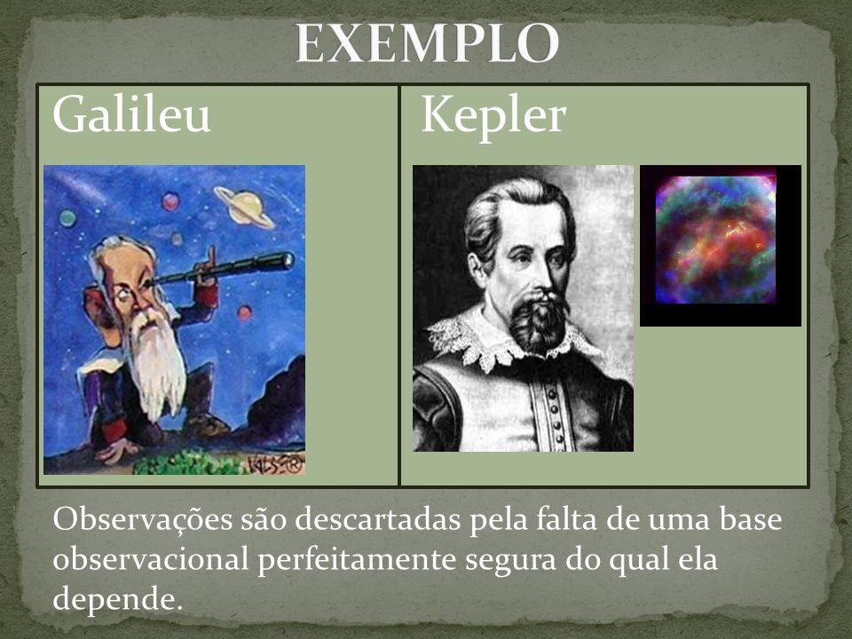 Galileu Kepler Observações são descartadas pela falta de uma base observacional perfeitamente segura do qual ela depende.