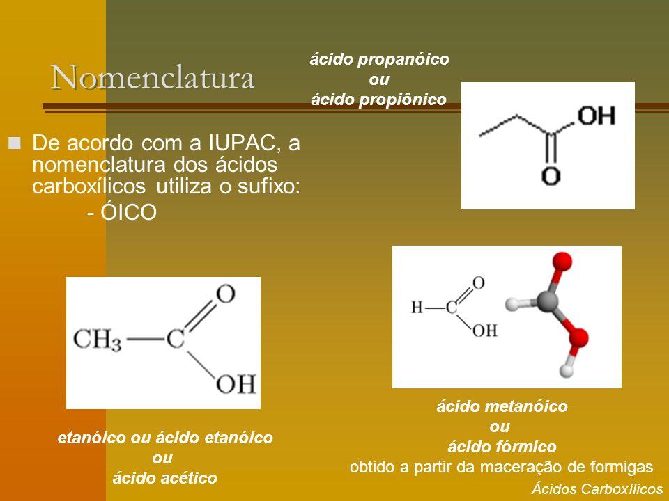 Nomenclatura De acordo com a IUPAC, a nomenclatura dos ácidos carboxílicos utiliza o sufixo: - ÓICO etanóico ou ácido etanóico ou ácido acético ácido