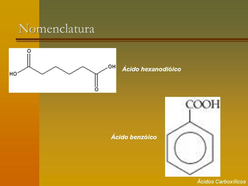 Nomenclatura Ácido hexanodióico Ácido benzóico Ácidos Carboxílicos