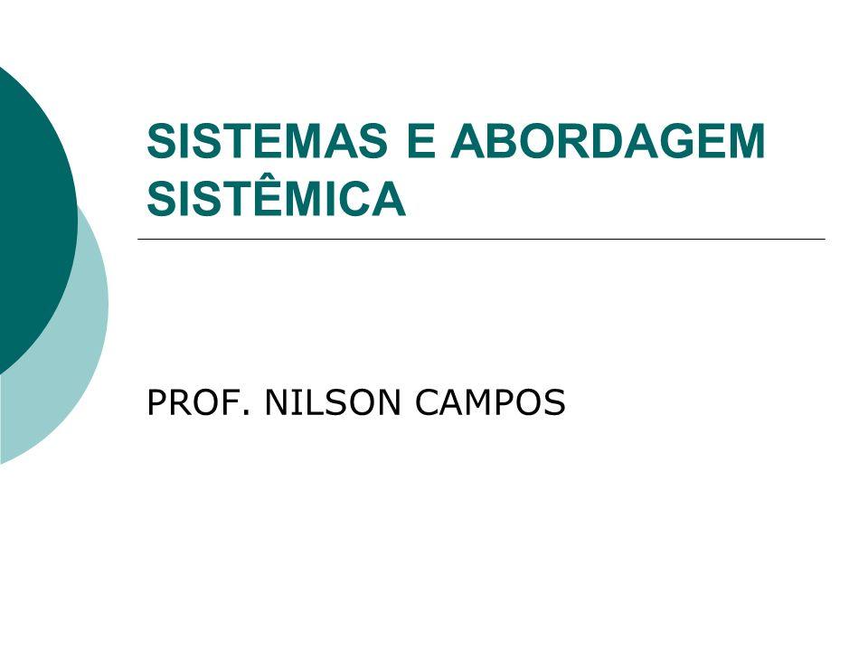 SISTEMAS E ABORDAGEM SISTÊMICA PROF. NILSON CAMPOS