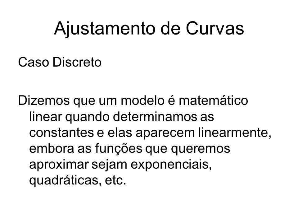 Ajustamento de Curvas Caso Discreto Dizemos que um modelo é matemático linear quando determinamos as constantes e elas aparecem linearmente, embora as