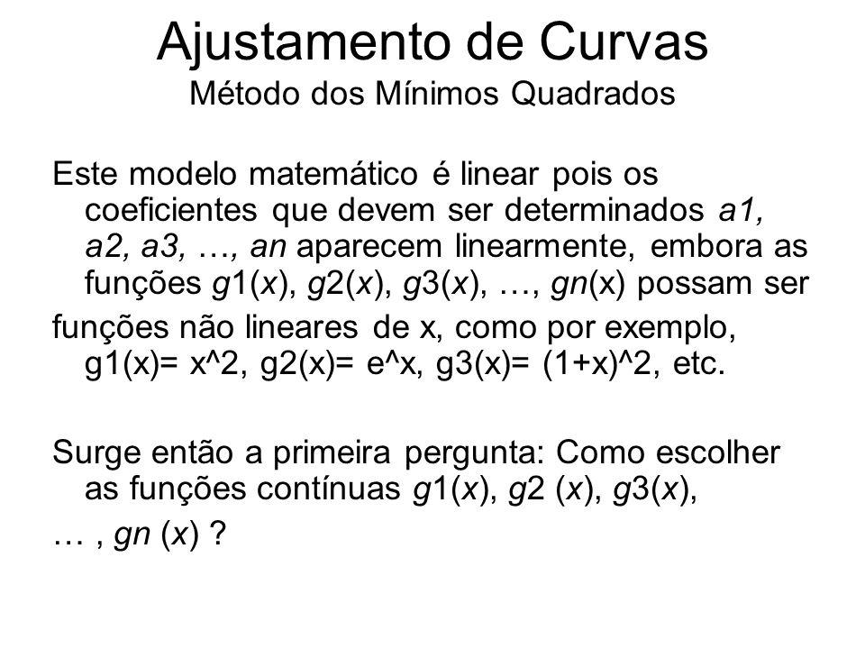Ajustamento de Curvas Método dos Mínimos Quadrados Este modelo matemático é linear pois os coeficientes que devem ser determinados a1, a2, a3, …, an a