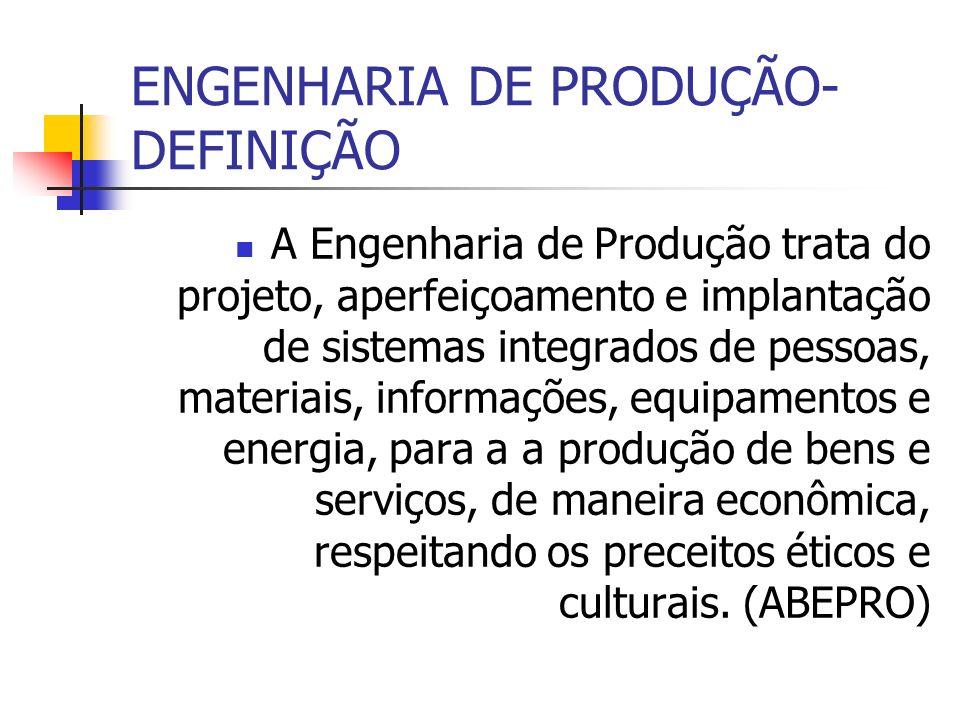 ENGENHARIA DE PRODUÇÃO- DEFINIÇÃO A Engenharia de Produção trata do projeto, aperfeiçoamento e implantação de sistemas integrados de pessoas, materiai