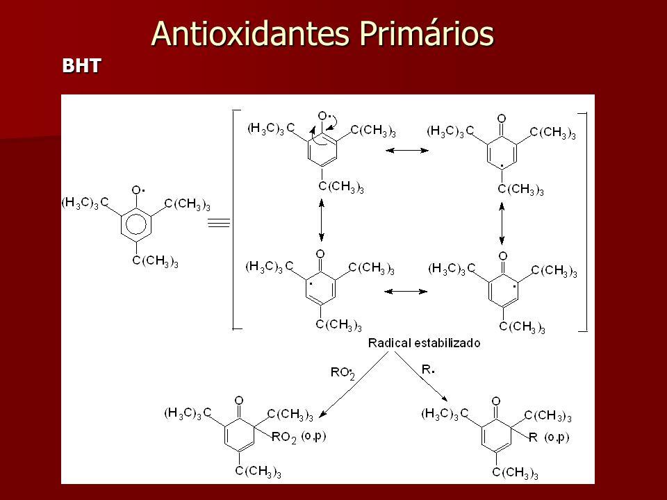 Mecanismo de ação dos antioxidantes Exemplo: BHT (butilhidroxitolueno) Mecanismo de ação dos antioxidantes Exemplo: BHT (butilhidroxitolueno) Antioxid