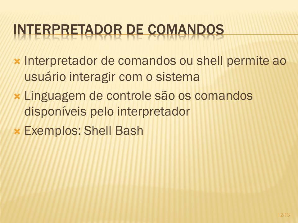 Interpretador de comandos ou shell permite ao usuário interagir com o sistema Linguagem de controle são os comandos disponíveis pelo interpretador Exe
