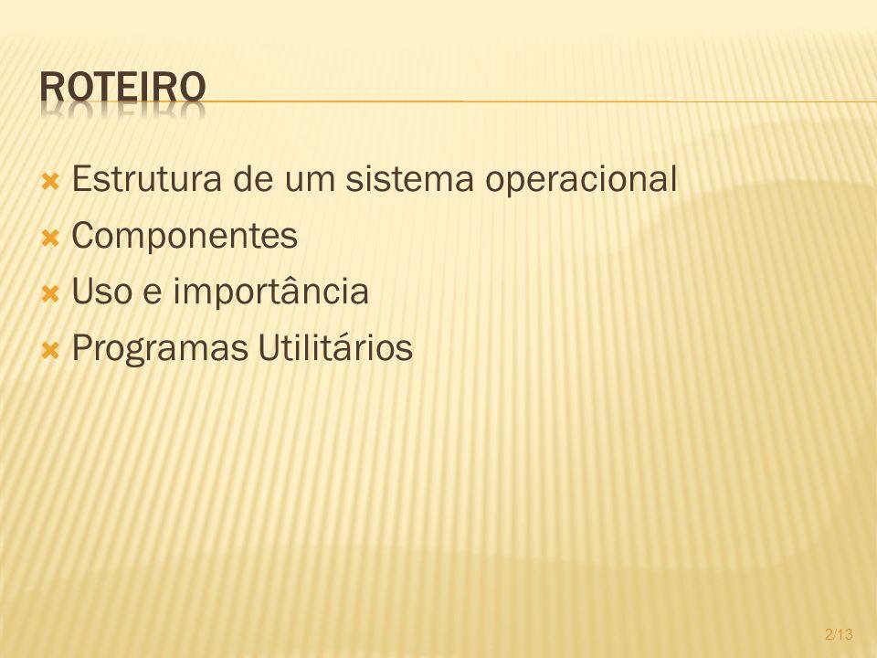 Kernel Coração do sistema operacional Responsável pela gerência dos recursos de hardwares utilizados 3/13