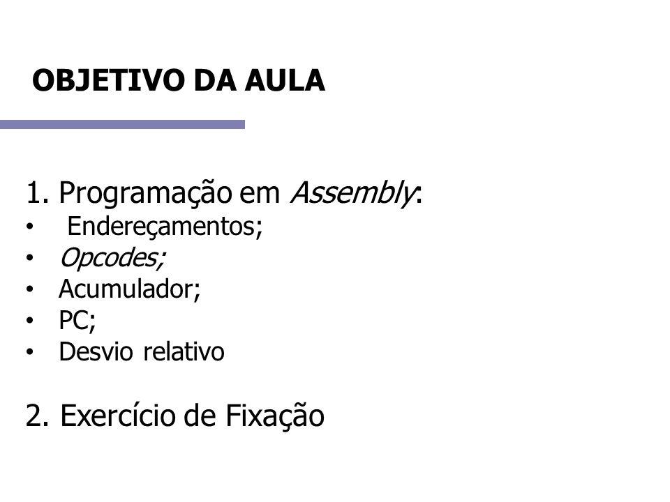 OBJETIVO DA AULA 1.Programação em Assembly: Endereçamentos; Opcodes; Acumulador; PC; Desvio relativo 2.