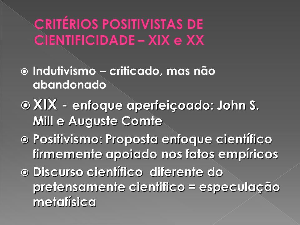 Indutivismo – criticado, mas não abandonado XIX - enfoque aperfeiçoado: John S.