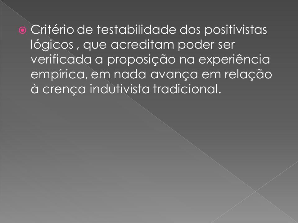 Critério de testabilidade dos positivistas lógicos, que acreditam poder ser verificada a proposição na experiência empírica, em nada avança em relação à crença indutivista tradicional.